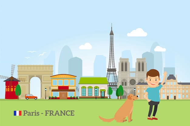 Ragazzino con cane a parigi