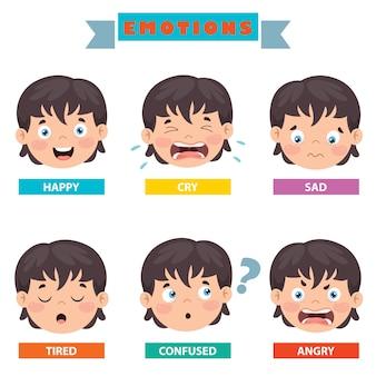 Ragazzino con diverse emozioni
