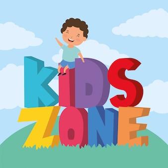 Ragazzino con scritte per bambini in zona