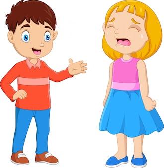 Ragazzino del fumetto che conforta una ragazza gridante