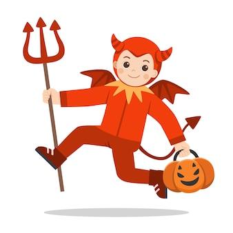 Ragazzino in costume diabolico con cesto di zucca per dolcetto o scherzetto su sfondo bianco. felice halloween.