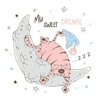 Ragazzino sveglio che dorme dolcemente sulla luna.