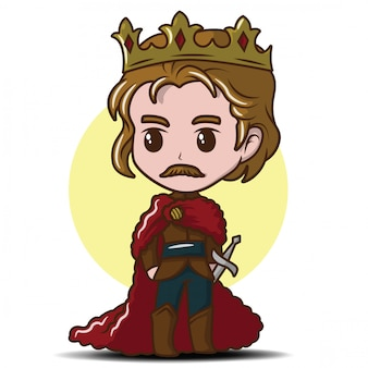Ragazzino sveglio che indossa il re., concetto del fumetto di fiaba