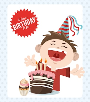 Ragazzo allegro di festa di buon compleanno festa con torta e cupcake