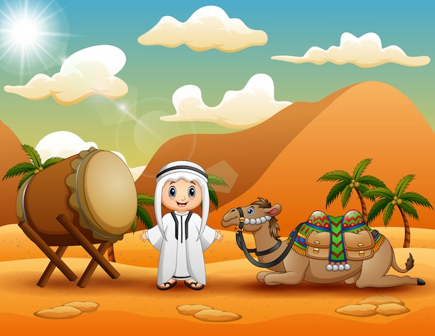Ragazzo arabo con cammello nel paesaggio del deserto