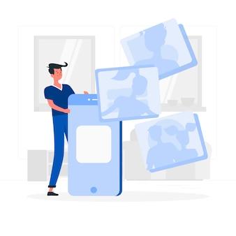Ragazzo blu con stile piatto polaroid