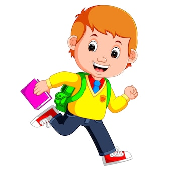 Ragazzo carino andare a scuola dei cartoni animati