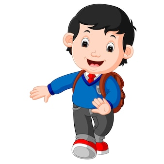 Ragazzo carino andare a scuola