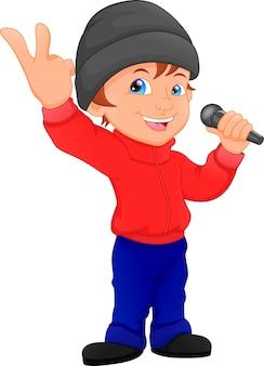 Ragazzo carino che canta