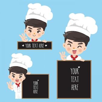 Ragazzo carino chef e lavagna spaziale