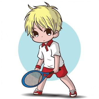 Ragazzo carino giocare a tennis personaggio dei cartoni animati.