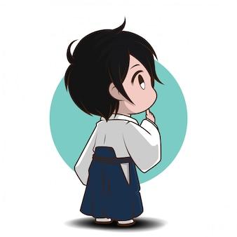 Ragazzo carino in costume yukata., yukaya è un abito nazionale giapponese.
