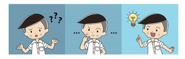 Ragazzo carino in uniforme studentesca thailandese è confuso, poi pensando e avuto l'idea.
