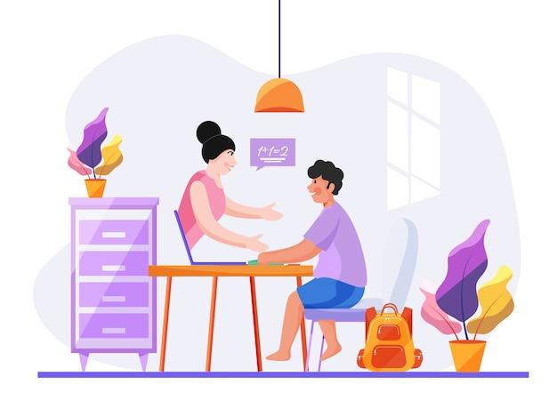 Ragazzo carino interagendo in videochiamata con insegnante femminile a casa per il concetto di formazione online. fermare il coronavirus.