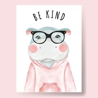 Ragazzo carino ippopotamo indossando occhiali illustrazione dell'acquerello arredamento vivaio
