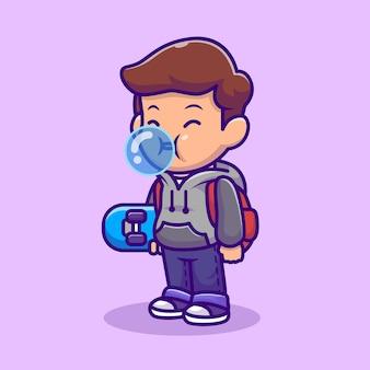 Ragazzo carino pattinatore che soffia candy bubble cartoon