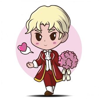 Ragazzo carino personaggio innamorato, personaggio dei cartoni animati.