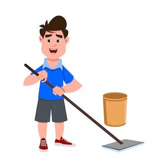 Ragazzo carino pulizia pavimenti