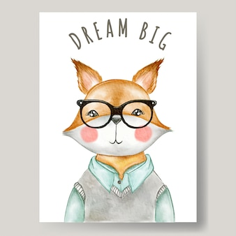 Ragazzo carino volpe con gli occhiali illustrazione dell'acquerello arredamento vivaio