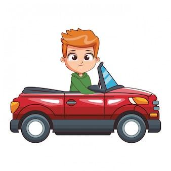 Ragazzo cartoon guida auto