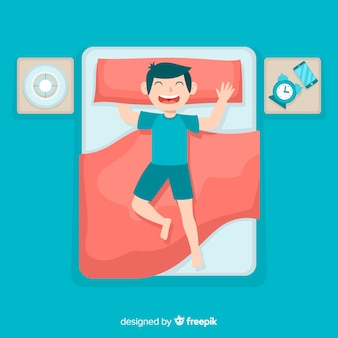 Ragazzo che dorme nel letto