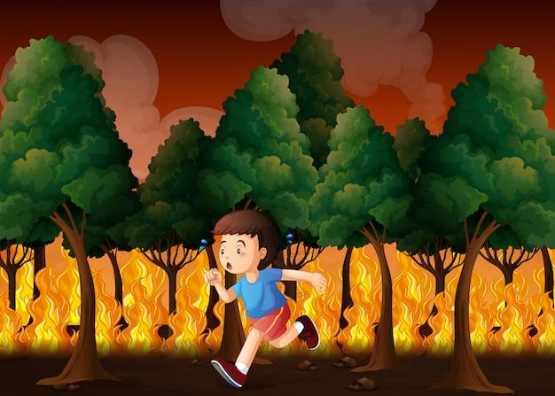 Ragazzo che fugge dal fuoco