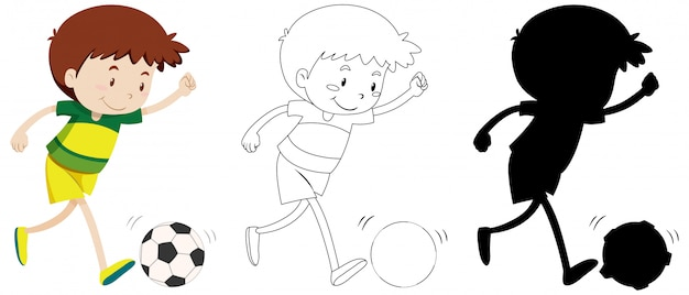 Ragazzo che gioca a calcio a colori e contorno e silhouette