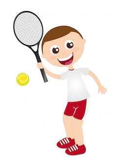 Ragazzo che gioca a tennis con l'illustrazione di vettore isolata racchetta