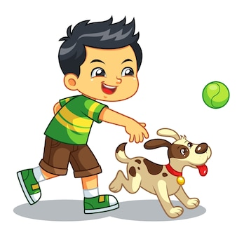 Ragazzo che gioca con il suo cane.