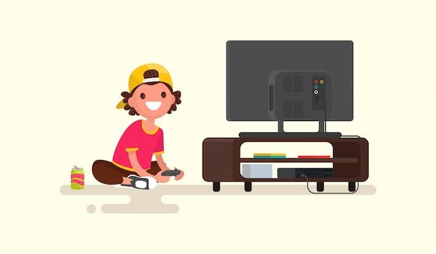 Ragazzo che gioca i video giochi su un'illustrazione della console del gioco