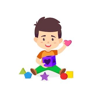 Ragazzo che gioca il fumetto di vettore della scatola di puzzle