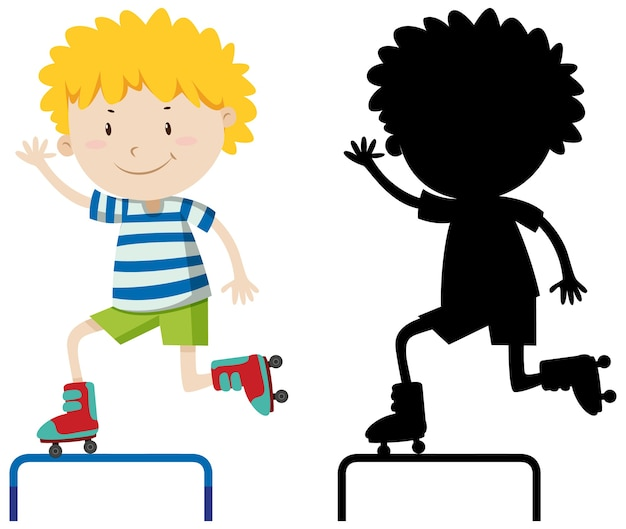 Ragazzo che gioca pattino a rotelle in colore e silhouette