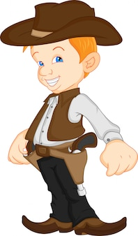 Ragazzo che indossa il costume da cowboy occidentale