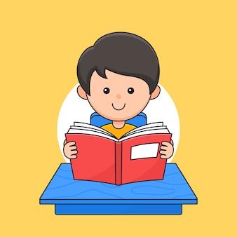 Ragazzo che legge e studia sull'illustrazione di stile del fumetto del profilo del tavolo dell'aula