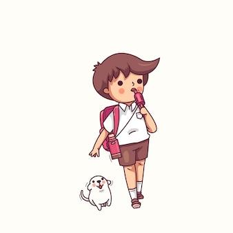 Ragazzo che mangia l'illustrazione di vettore del carattere del gelato e del cane