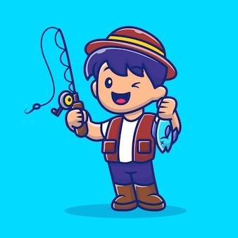 Ragazzo che pesca con l'illustrazione dell'icona della canna da pesca. persone hobby icon concept.