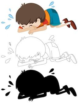 Ragazzo che piange sul pavimento con il suo contorno e la silhouette