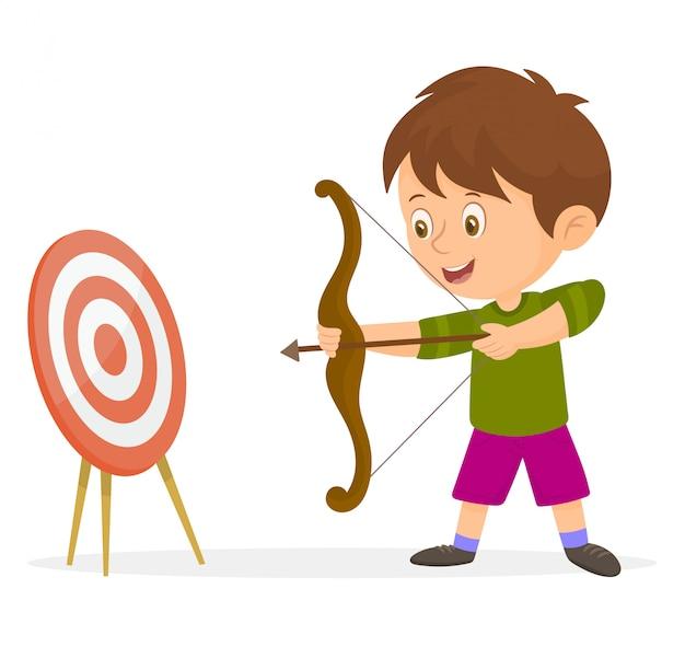 Ragazzo che punta una freccia verso un bersaglio