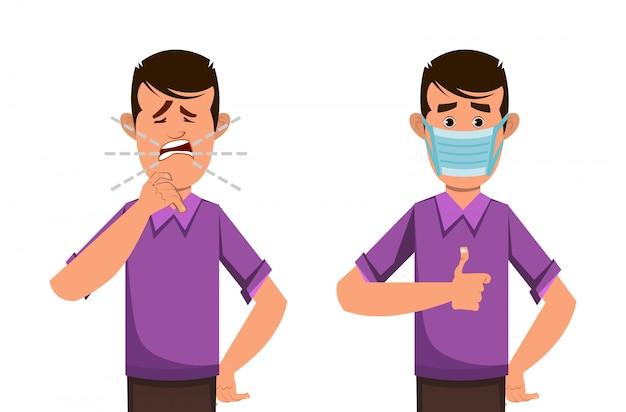 Ragazzo che tossisce e indossa una maschera protettiva