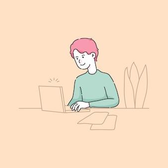 Ragazzo che usando l'illustrazione del computer portatile