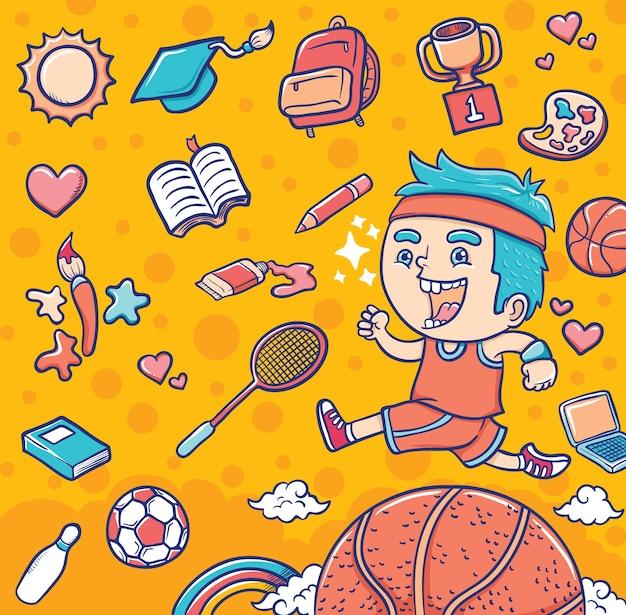 Ragazzo con attrezzature sportive ed educative