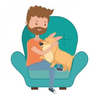 Ragazzo con cane cartoon