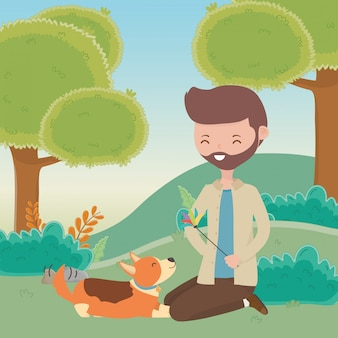 Ragazzo con cane di cartone animato