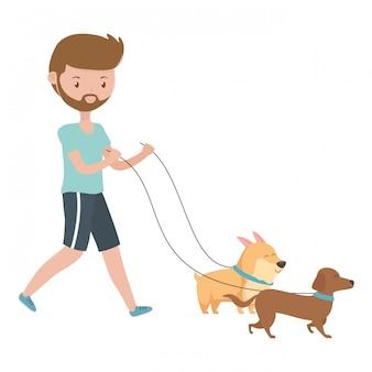 Ragazzo con cani di cartoni animati