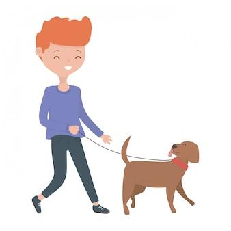 Ragazzo con cartone animato cane