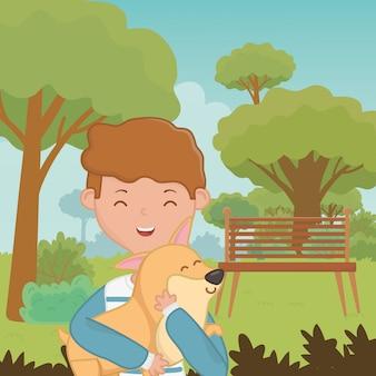 Ragazzo con design di cane cartone animato