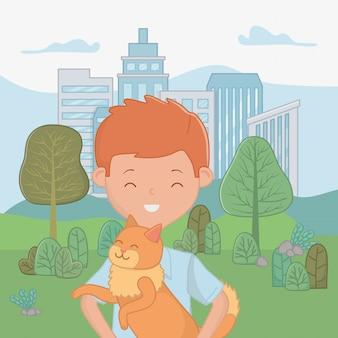 Ragazzo con design di gatto cartoon