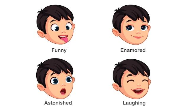 Ragazzo con diverse espressioni facciali parte 4