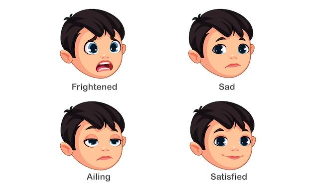 Ragazzo con diverse espressioni facciali