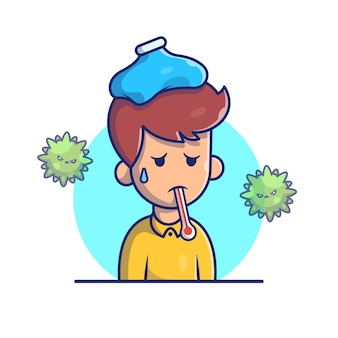 Ragazzo con febbre e influenza icona illustrazione. personaggi dei cartoni animati di corona mascotte. person icon concept white isolated